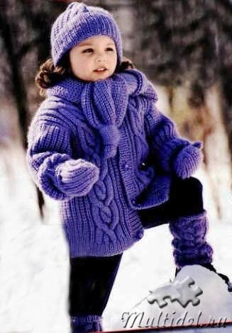 Вяжем детям Комплект: вязаный жакет, шапочка, шарф, гетры и варежки