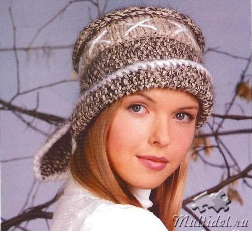 Женская шапочка с завязками