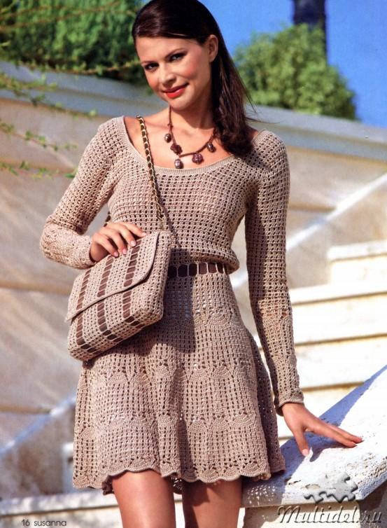 Постоянная ссылка: Расклешенное вязаное платье крючком. расклешенное вязано