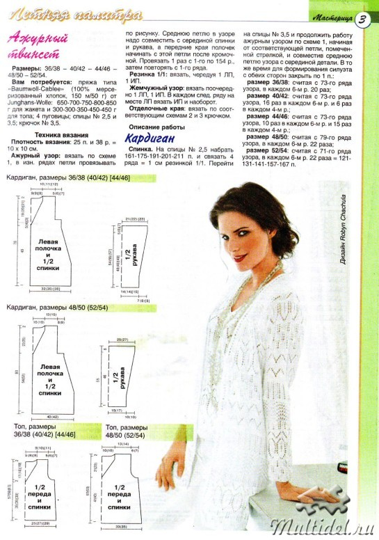 Вязание ажурного жакета кардигана спицами
