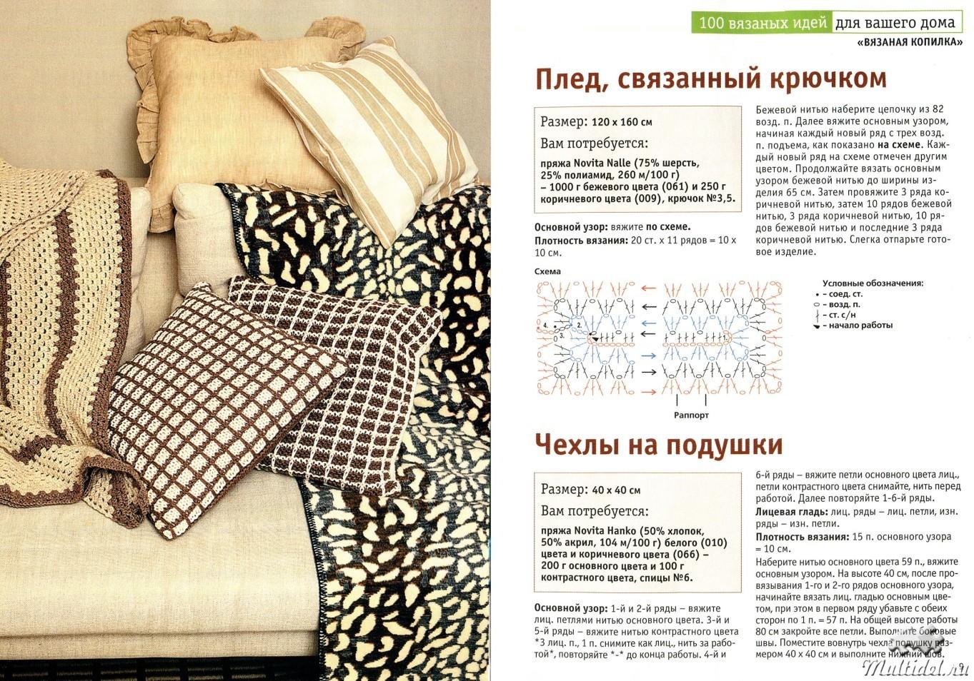 Вязание спицами пледы и подушки