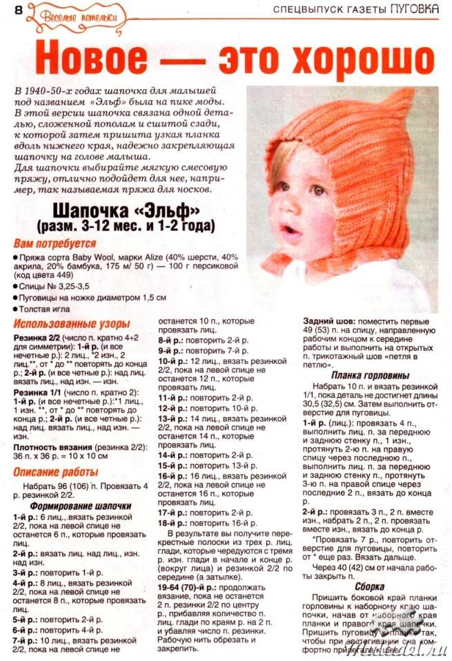Вязание детская шапочка с описанием работы