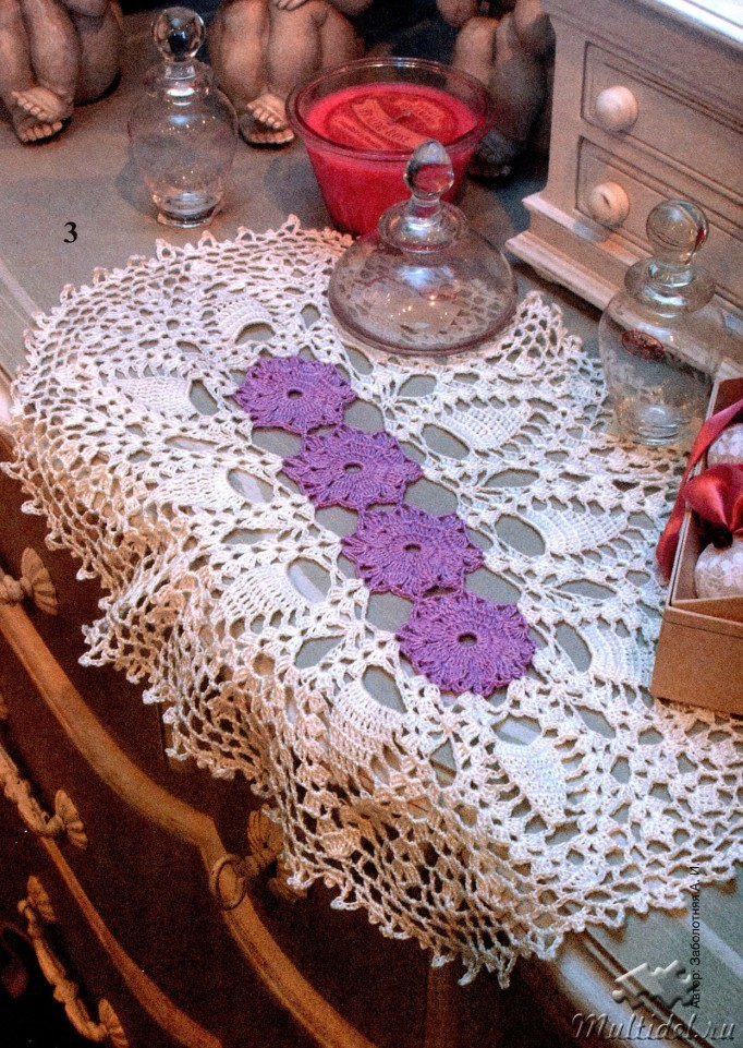 Вязание дорожек крючком с цветами