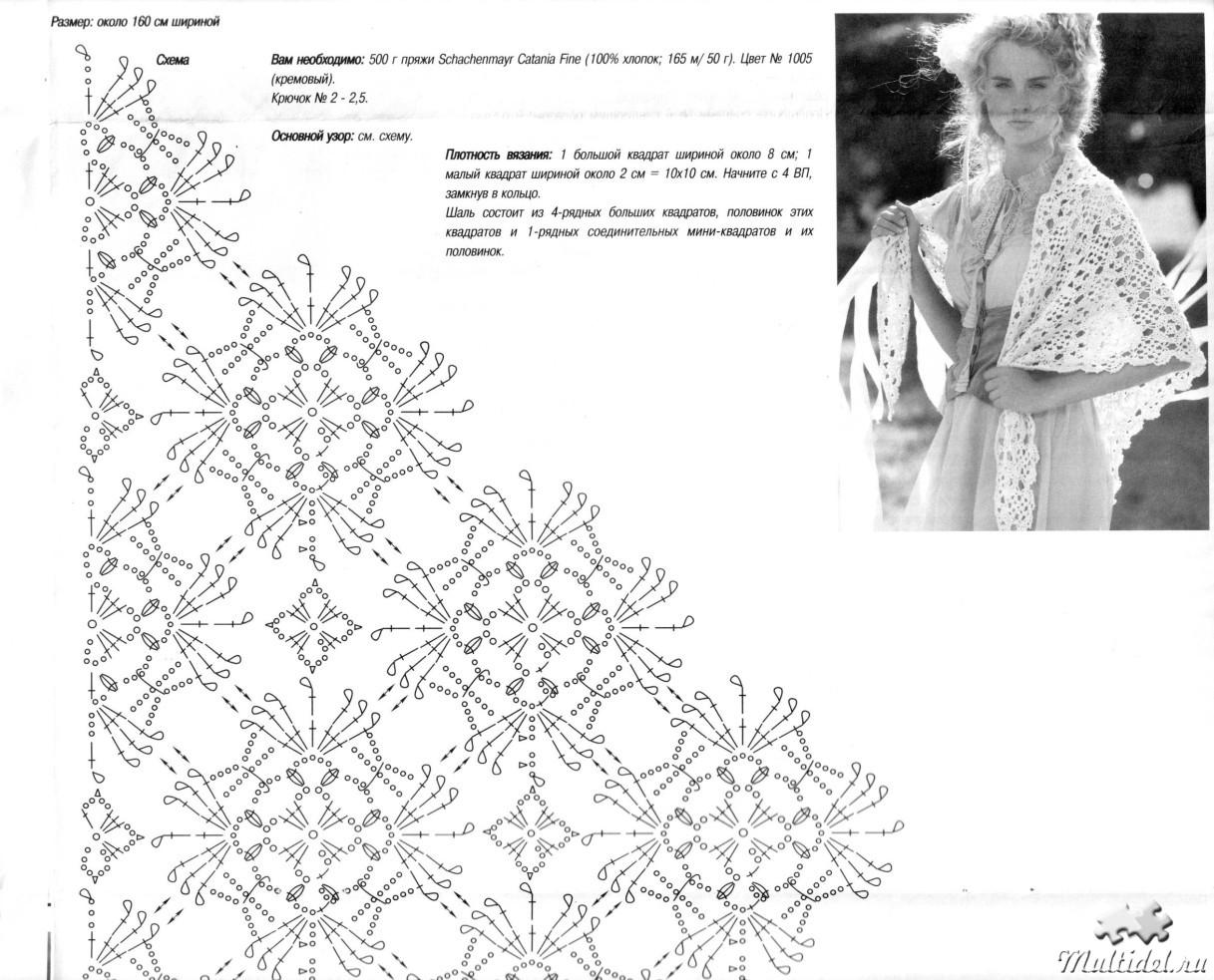 Вязание крючком шали ажурные и схемы к ним