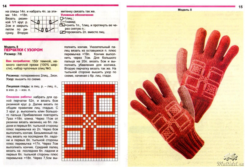 154Вязание перчаток с узорами