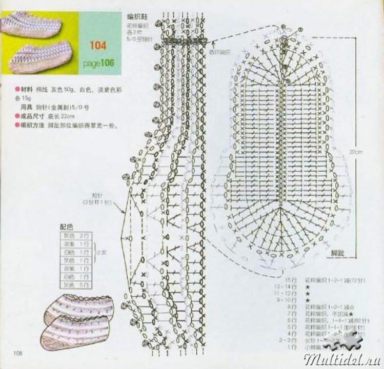 Как вязание крючком тапочки 601