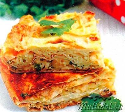 Пирог из лаваша с сыром и зеленью. Киш с ветчиной и кукурузой