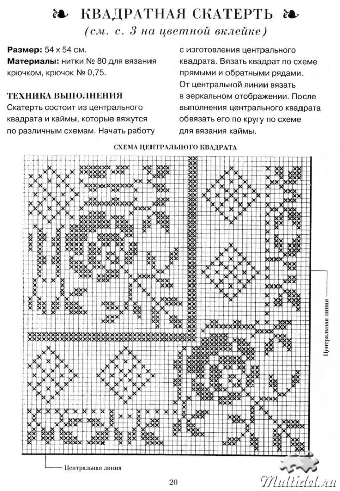 Схема для вязания крючком скатерти на прямоугольный стол 134